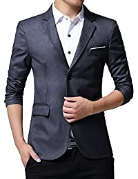 Mens Slim Fit Casual Two Button Blazer Jacket Suit Coat