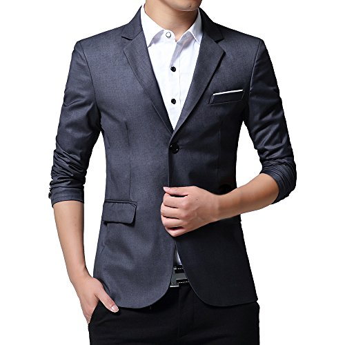 WEEN CHARM Mens Slim Fit Casual Two Button Blazer Jacket Suit Coat by WEEN CHARM