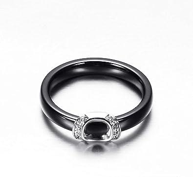HIJONES Women Girls Elegant CZ Cubic Zirconia Ceramic Ring Stainless Steel Wedding Bridal Band