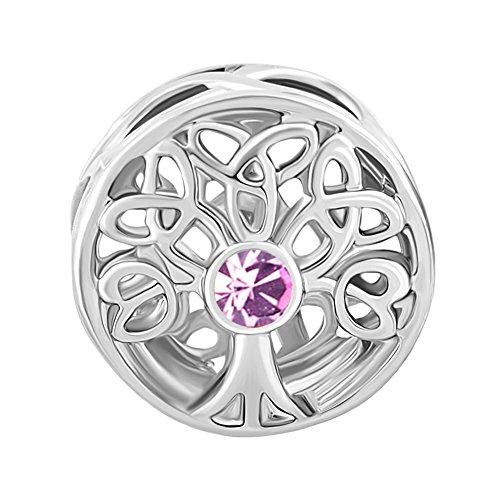 June Bead Boy Charm - ShinyJewelry Synthetic June Birthstone Family Tree Of Life Beads Charm for European Bracelet