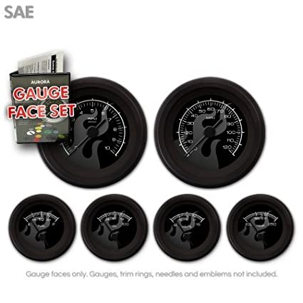 GARFE82 Ghost Flame Black Gauge Face Set Aurora Instruments