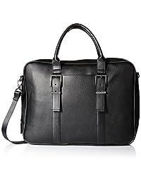 Calvin Klein Men's Pebble Leather Attache, Black