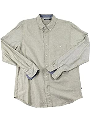 Long Sleeve Twill Button Down Shirt Flagstone Large