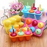 FMY 6 Pcs Cream Cones Ice Cream Tray Cube Mould Mold with Stick(Random Color)
