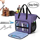 Teamoy Pet Grooming Tote, Dog Grooming Supplies Organizer Bag for Grooming Tool Kit and Dog Wash Shampoo Accessories, Purple (Bag ONLY)