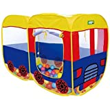 Happy GiftMart Baby Pop Up Bus Shaped Tent House, 54x37x27 Inches (Multicolour)