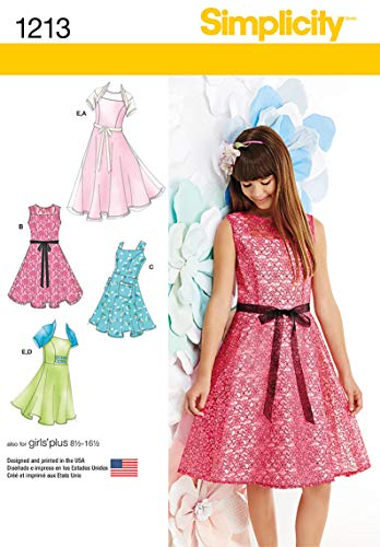 Dress Girls Simplicity - Simplicity 1213 Girls' and Plus Size Girl's Dress and Knit Shrug Sewing Patterns, Sizes AA (8-10-12-14-16)