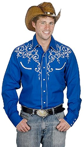 Men's Cotton Blend Retro Leaf Embroidery Western Shirt-Royal ()