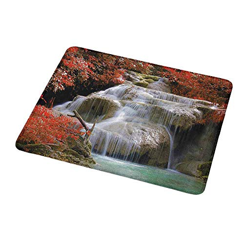 - Gaming Mouse Pad Custom Waterfall,Waterfalls Flows Through Giant Rocks Surrounded by Fall Trees,Red White and Pale Brown,Non-Slip Personalized Rectangle Mouse pad 9.8
