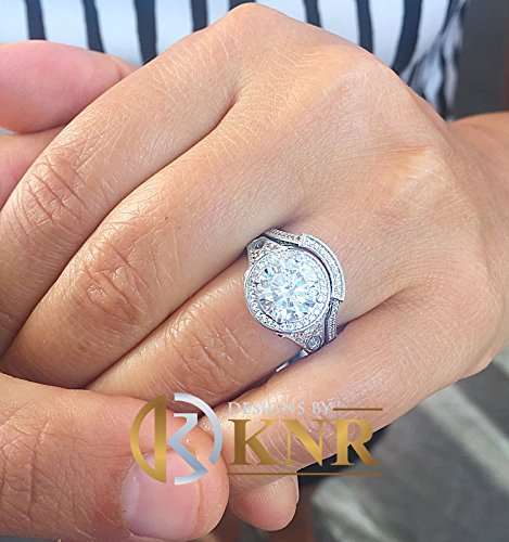 Ring White Antique Diamond Gold - Huge 14k Solid White Gold Round Cut Simulated Diamond Engagement Ring and band Antique Deco Bridal Halo Wedding Anniversary Filigree 3.00ct