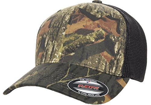 Flexfit Premium Original Blank Mossy Oak Stretch Mesh Trucker Cap (Mossy Oak - Camo Cap Stretch