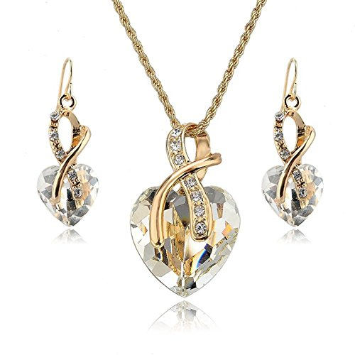 YiaMia Jewelry Necklace Earrings Set - Clear Crystal Necklace and Drop Earrings Silver Gold Plated Imitated Rhinestone Jewelry Sets for Women/Girls/Teen