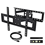 """Happyjoy Heavy Duty Dual Articulating Arm TV Wall Mount Bracket Tilt and Swivel for 32-65"""" TVs Screen Including HDMI Cable and 3-Axis Magnetic Bubble Level"""