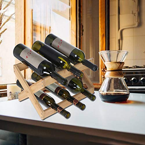 Gotian Foldable Countertop Wine Rack 6-bottles Furniture Wine Display Stand- Geometric Wood 6 Bottle - Space-saving Wood Shelf Design - Freestanding Kitchen Storage Stand