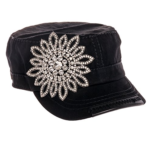 Olive & Pique Rhinestone Flower Design Cadet Military Style Cap Hat (Black) (Rhinestone Cadet Cap)