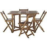 Safavieh Outdoor Living Collection Arvin 5-Piece Dining Set, Teak Brown
