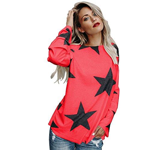 iDWZA Women Girl Strapless Star Sweatshirt Long Sleeve Crop Jumper Pullover -