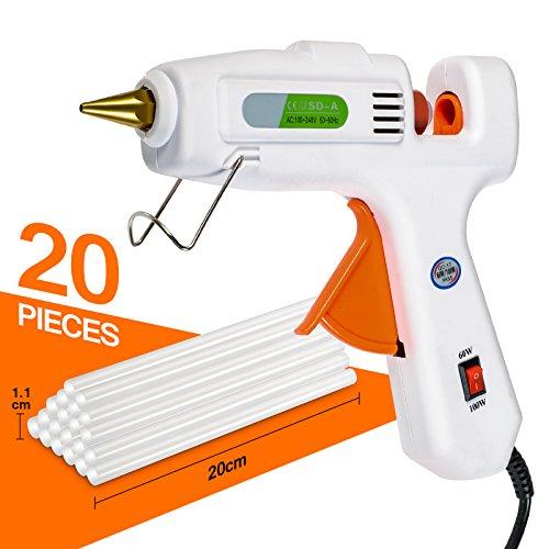 Hot Melt Glue Gun, Dinfu Full Size 60/100W Dual Power Hot Glue Gun with 20PCS Glue Sticks for Arts & Crafts, Sealing & Quick Repairs by Dinfu