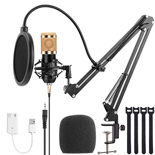TKOAIY BM-800 Mic Kit with Adjustable Mic Suspension Scissor Arm, Metal Shock Mount and Double-layer Pop Filter for Studio Recording &Broadcasting (Gold)