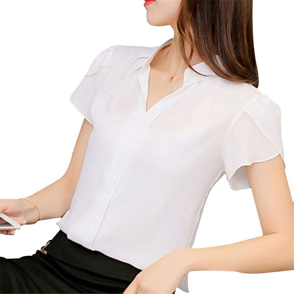 FE Blusa de Gasa con Cuello en V para Mujer, Manga Corta, Camisa Delgada para Oficina Blanco Blanco S: Amazon.es: Ropa y accesorios