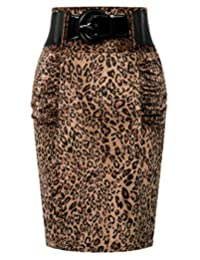 Kate Kasin Women's Stretchy Pencil Skirt Side Pleated Business Skirts with Belt