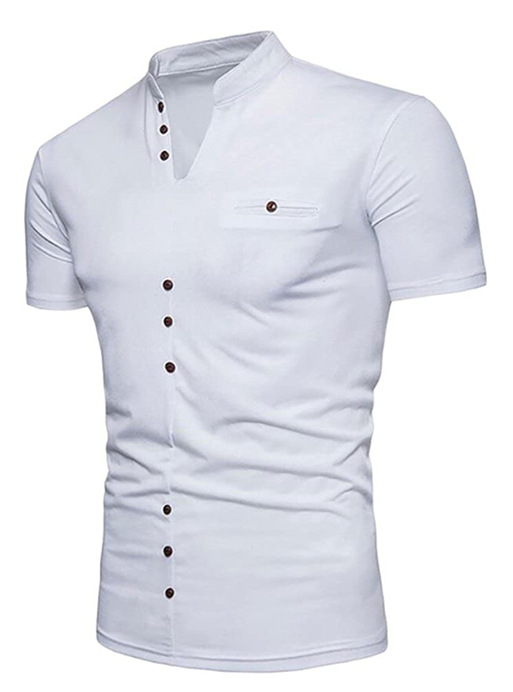 Frieed Mens Casual Short Sleeve Buttons Solid Color V-Neck Henley T Shirt