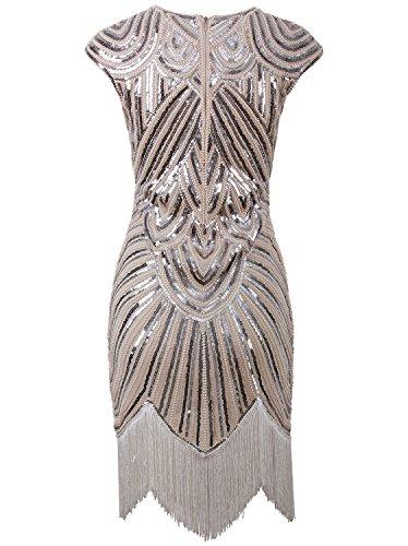 Vijiv Art Déco Des Années 1920 Grande Perles Pompon Inspirée De Gatsby Robe Garçonne Beige