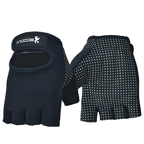 Ezyoutdoor Black Half-finger Fingerless Gloves for Riding Cycling Shooting Airsoft Hunting Climbing Hiking Fitness (XL)