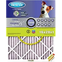 BestAir PF1620-1 Furnace Filter, 16 x 20 x 1, Carbon Infused Pet Filter, MERV 11