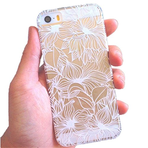 Mokingtop White Carved Transparent Pattern Hard Case Cover for Iphone 5 5g 5s