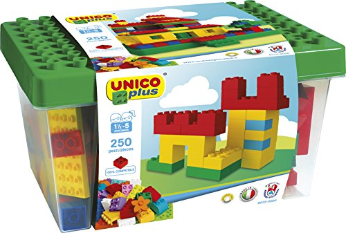 Unico 250 pcs Building bricks DUPLO compatible In a Bucket and HUGE building plate - Brick Bucket