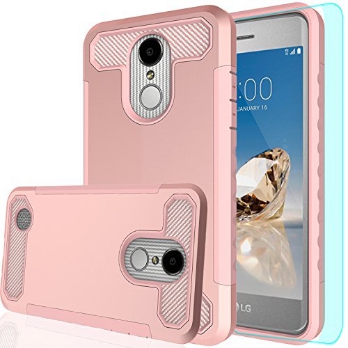 LG Aristo Phone Case,LG Phoenix 3 Case,LG Fortune/LG K8 2017/Risio 2/Rebel 2 LTE Case with HD Screen Protector,AnoKe[Prism Series]Heavy Duty Dual Layer Protective Armor case for LG LV3 TQW Rose Gold