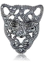 Gunmetal Tone Filigree Face of Cheetah Rhinestone Encrusted Adj Fashion Ring