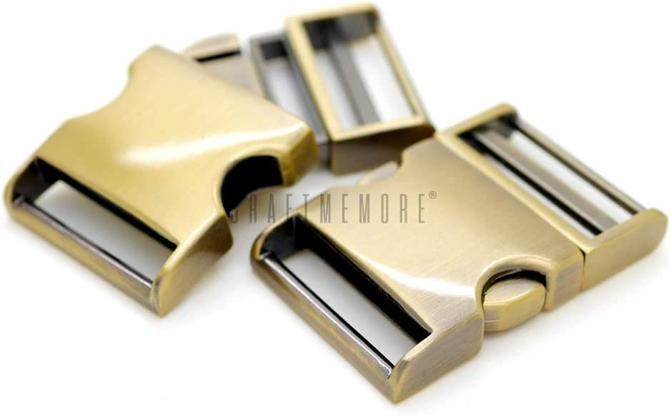 Premium Quality Gunmetal CRAFTMEmore 2 pcs 3//4 inch Metal Curved Side Release Buckle Webbing Bag Clip Lock Belt Strap Backpacks Collar