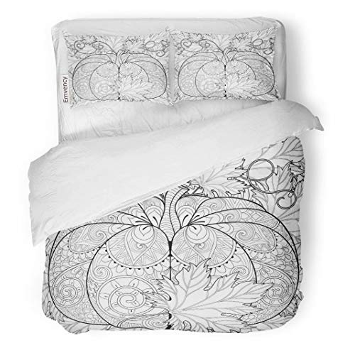 Tarolo Bedding Duvet Cover Set Zentangle Pumpkin on Autumn Leaves for Halloween Freehand Sketch Adult Anti Stress Coloring Page Doodle 3 Piece Twin 68