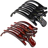 2 Pcs Women Simple Exquisite Large Claw Hair Clips Plastic Hair Claw Clamps Issuing Card Hairpin for Thick Hair (Black and Brown)