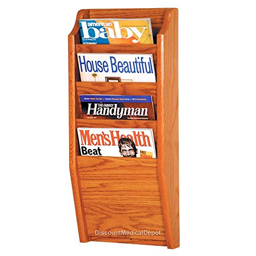 DMD Wall Mounted Magazine Rack, 4 Pocket Display, Medium Oak Wood Finish