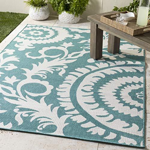 WorldWeavers Alysia Floral Teal Indoor Outdoor 6 x 9 Area Rug, 5 11 x 8 10