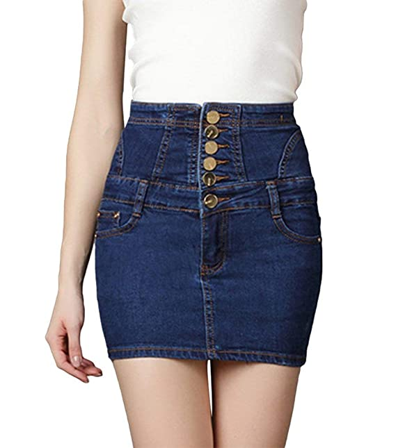 7037fd683a Faldas Mujer Casual Moda De Verano Falda De Las Mode De Marca Mujeres  Elegante Mini Falda Short Stretch Denim Falda Minifalda Jeans con Botones   Amazon.es  ...