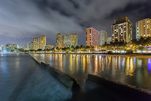 Hotels with lights reflecting off the water at night at Kuhio Beach (aka ''Walls'') in Waikiki, Oahu, Hawaii print picture photo photograph fine art by Mike Krzywonski Photography
