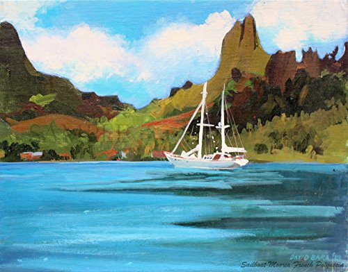 Painting in Tahiti - Giclee Print of Original Plein Air Painting - Cooks Bay, Moorea, French Polynesia, - Bay South Gallery