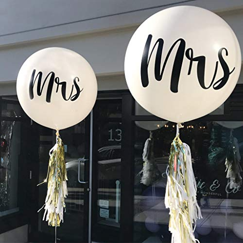 36 Inch Mrs. Balloons, Kicpot 2 Pcs Large Wedding Balloons White Balloons Great for Bridal Shower Decorations,Wedding and Bachelorette Party Suppliers