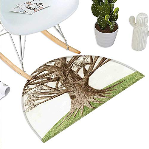 Tree of Life Semicircle Doormat Artsy Hand Drawn Pastoral Single OldTree with Growing Branches on The Grass Decor Halfmoon doormats H 35.4