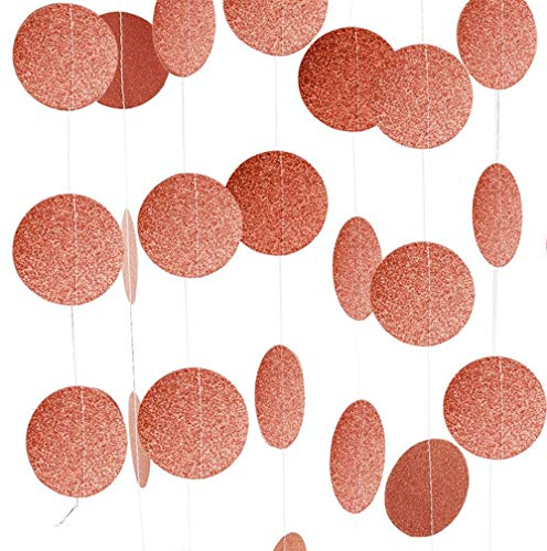 Rose Gold Party Supplies Glitter Grand Paper Dots Hanging - 4 Pack 52 Feet for Bachelorette Party,Wedding, Birthday Party Decoration