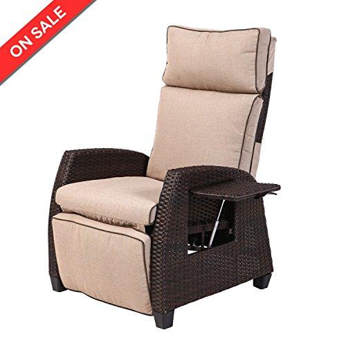 LCH Indoor/Outdoor Wicker Recliner U2013 Adjustable Relaxing Patio Sofa,  Rust Resistant Alumin
