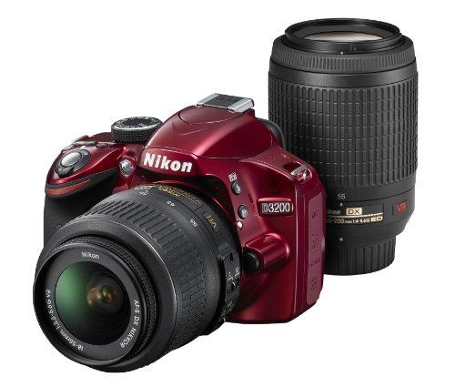 Nikon Digital Single-lens Reflex Camera D3200 200mm Double Zoom Kit Comes 18-55mm/55-200mm Red D3200wz200rd (Single Lens Reflex Camera Nikon)