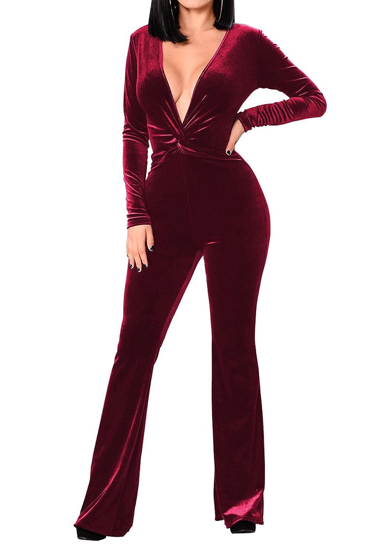 VamJump Women Velvet Long Sleeve Deep V Neck Knot Wide Leg Bodycon Club Jumpsuits