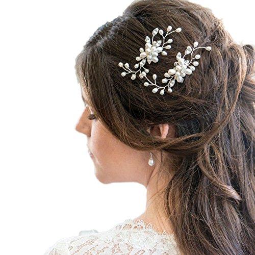 Rokoo Perlas de pelo cristalinas de la flor de la perla de la boda del vintage