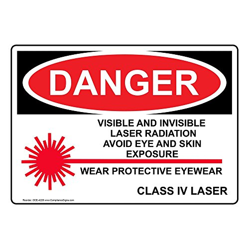 Danger Visible and Invisible Laser Radiation Sign OSHA Safety Label Decal, 5x3.5 in. 4-Pack Vinyl for Process Hazards PPE by ComplianceSigns