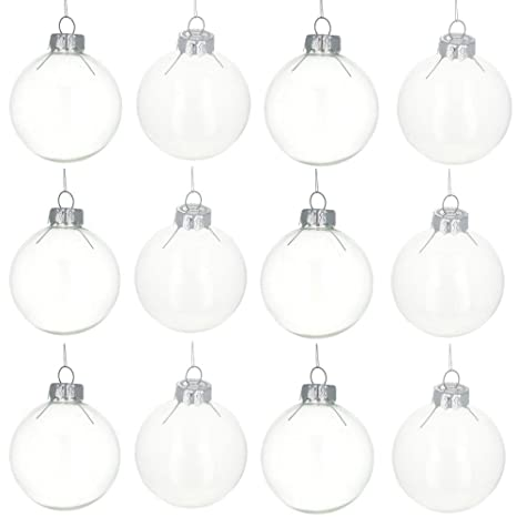 best website 97ff4 4b569 BestPysanky Set of 12 Clear Glass Ball Christmas Ornaments 2.2 Inches